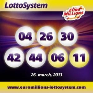 Vinnande EuroMillions Superdraw nummer 26 mars 2013, tisdag dragning