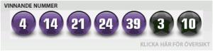 Sista nätter Euromillions nummer, tisdag 19.03.2013