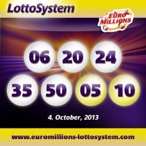 Dubbel rollover i Euro Millions efter dragningen den 4 oktober 2013